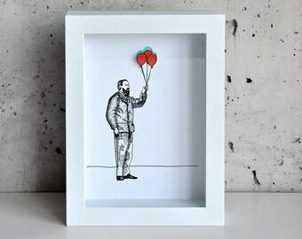 Man with Balloon, Hand-cut 3D art print in shadowbox