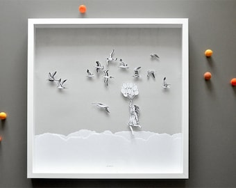 Flying with Birds, Large Hand-cut 3D art print in shadowbox