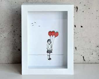 Girl with Balloon, Hand-cut 3D art print in shadowbox