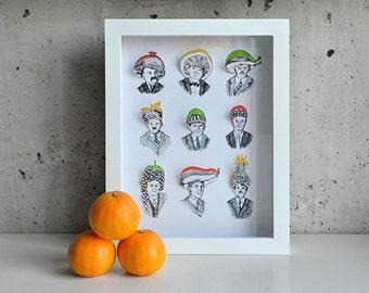 Heads of Fruit, Hand-cut 3D art print in shadowbox
