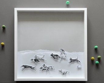 Running with the Dogs, Large Hand-cut 3D art print in shadowbox