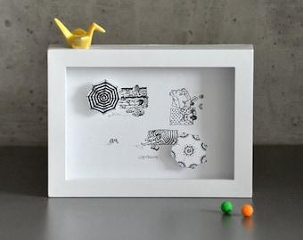 Beach Scene, small hand-cut 3D art print in shadowbox