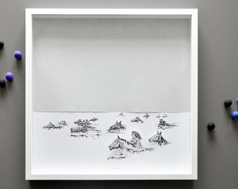 Swimming with the Horses, Large Hand-cut 3D art print in shadowbox