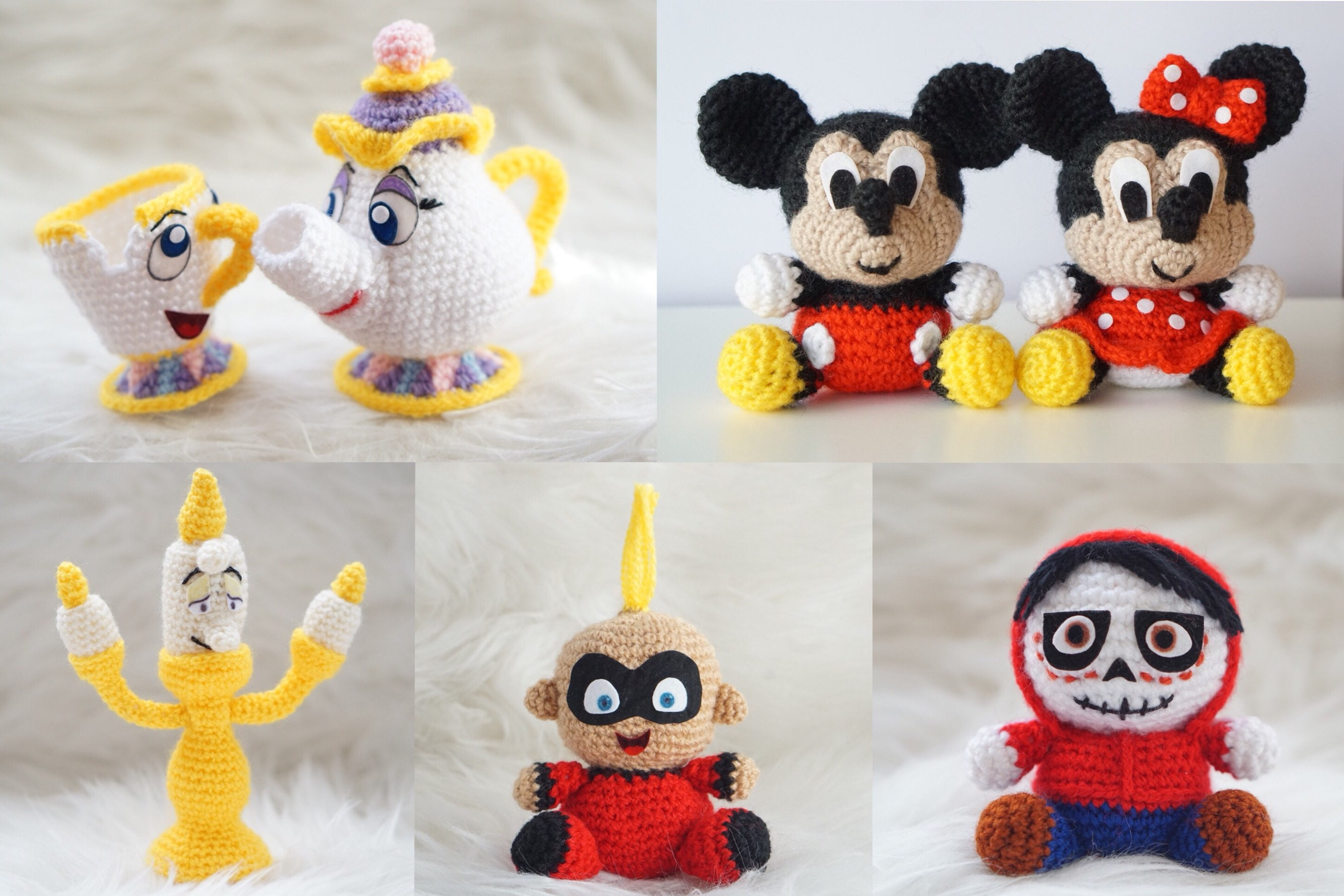Peluche Amigurumi Mickey Mouse Minney Mouse Sra Potts Chip | Etsy