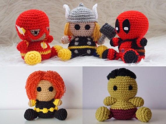 Pack 5 en 1: Flash, Thor, Deadpool, Viuda Negra, Hulk Amigurumi ...