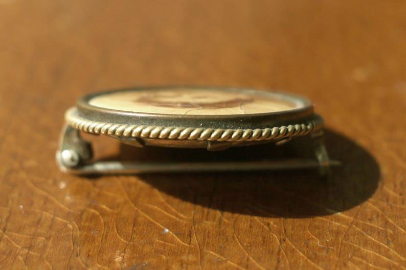vintage brass photo brooch 1900s Amerikaner double