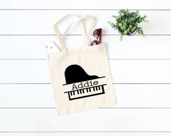7fd76bd7b Tote Bag, Personalized Piano Tote Bag 2, Piano Tote Bag, Cotton Tote Bag,  Choose your color