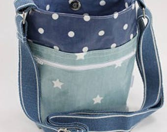 Oilcloth cross body bag. Navy and teal star. Perfect gift.