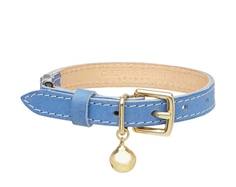 Blue Leather Cat Collar with Breakaway Buckle