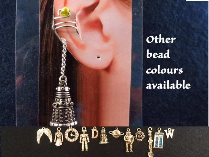 Doctor Who ear cuff and chain with the charm and bead of your choice.