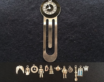 Doctor Who clip bookmark with the charm and disc colour of your choice.
