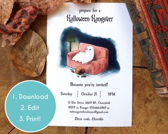 Halloween Party Ghost Invitation | Personal Halloween Invite | Editable PDF Halloween Party Invite | Template | Instant Download