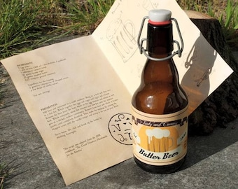 ButterBeer Bottle with butter beer recipe - Magical Glassware for Witch and Wizard