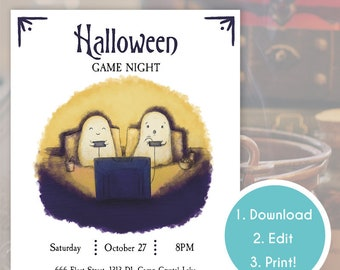 Halloween Game Night Party Invitation | Personal Halloween Invite | Editable PDF Halloween Party Invite Ghosts | Template | Instant Download