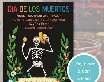 Dia de los Muertos party invitation | Instant Download | Day of the Dead party invite | Editable custom invitation | Halloween invitation
