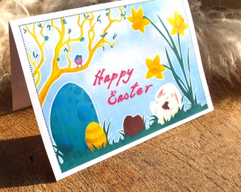 Easter Bunny Card | Printable PDF | Cute Bunny Greeting Card | Easter Stationery Snail Mail | Digital Download Greeting Card