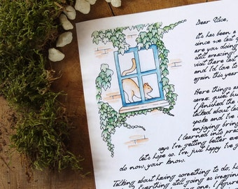 Window Cat writing paper | Printable PDF Instant Download | Watercolor illustration print