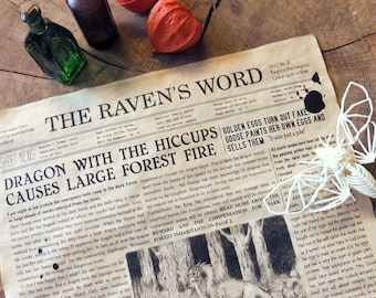 Fairy Tale Poster - Newspaper poster Aged paper - Raven's Word - Fairy Tale wall decor