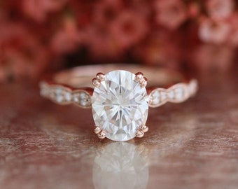 Forever One Moissanite Solitaire Engagement Ring in 14k Rose Gold Scalloped Diamond Wedding Band 9x7mm Oval Cut Gemstone Anniversary Ring
