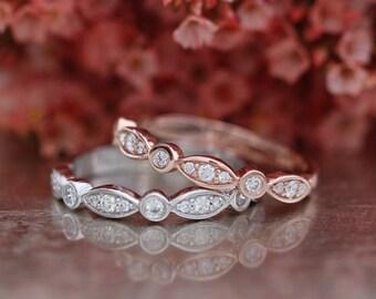 Matching Diamond Wedding Ring Half Eternity Band in 14k Gold Bezel Scalloped Diamond Wedding Band Anniversary Ring Promise Ring