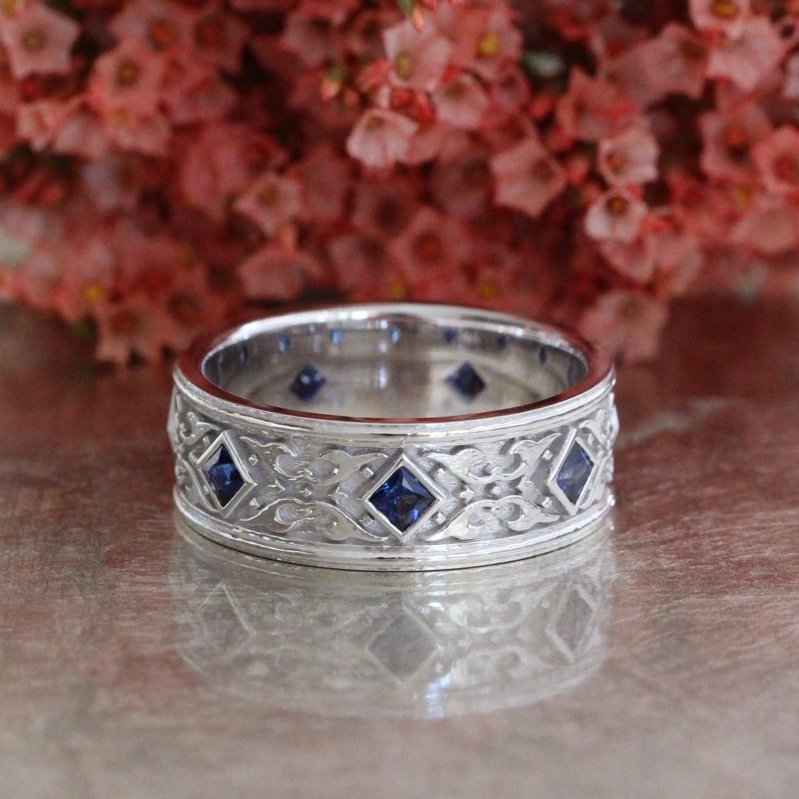 Celtic Wedding Band Princess Cut Sapphire Wedding Ring 14k | Etsy