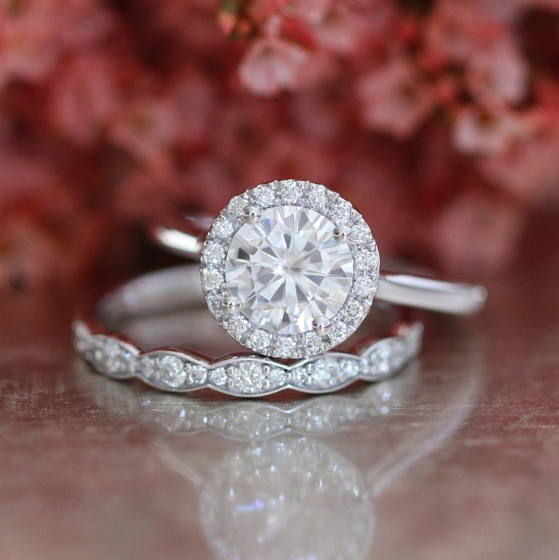 Forever One Moissanite Engagement Ring and Scalloped Diamond image 0