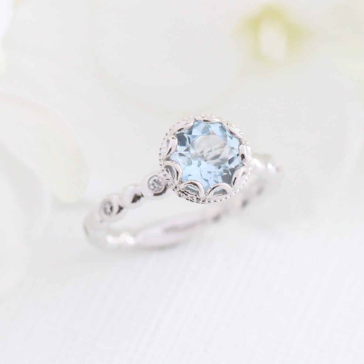 floral aquamarine engagement ring in 14k white gold. Black Bedroom Furniture Sets. Home Design Ideas