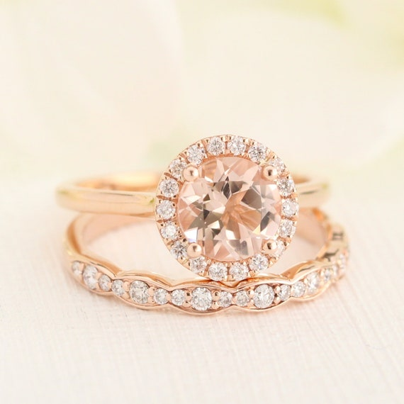 Morganite Wedding Set.Morganite Wedding Set Rose Gold Diamond Scalloped Wedding Ring And 7mm Gemstone Halo Engagement Ring In 14k Gold Bridal Ring Set