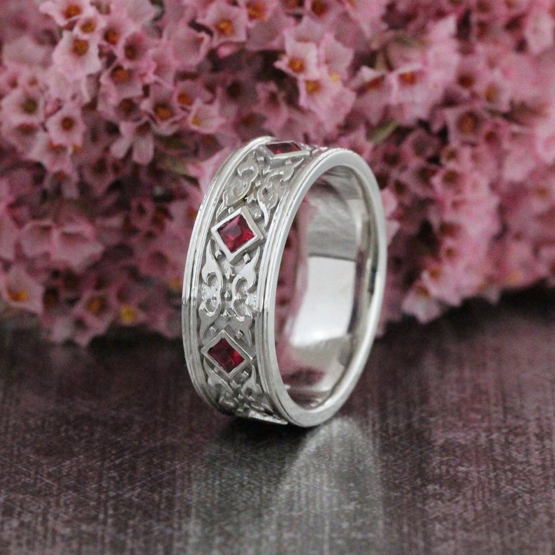 a7ef69d45cf Celtic Wedding Band Princess Cut Ruby Ring in 14k White Gold Anniversary  Ring for Men or Women 8mm Celtic Knot Ring (Other Metals Available)