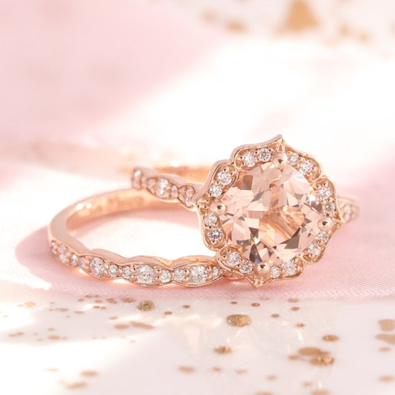 Bridal Set Vintage Floral Morganite Engagement Ring And Etsy