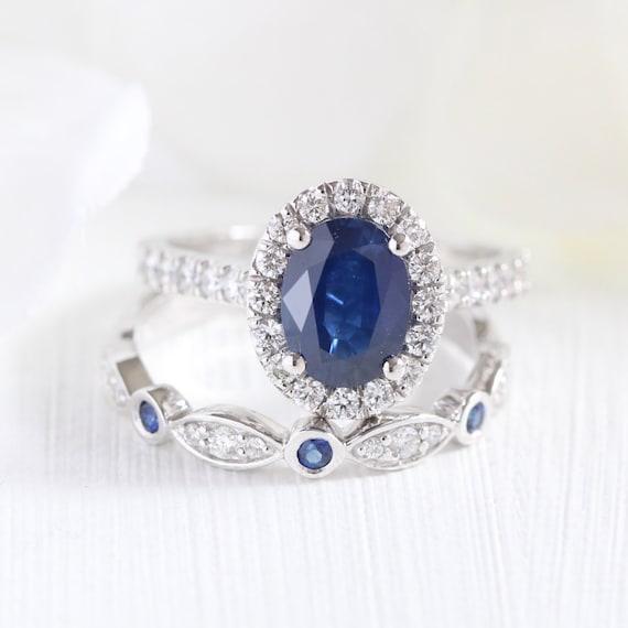 zafiro azul anillo compromiso