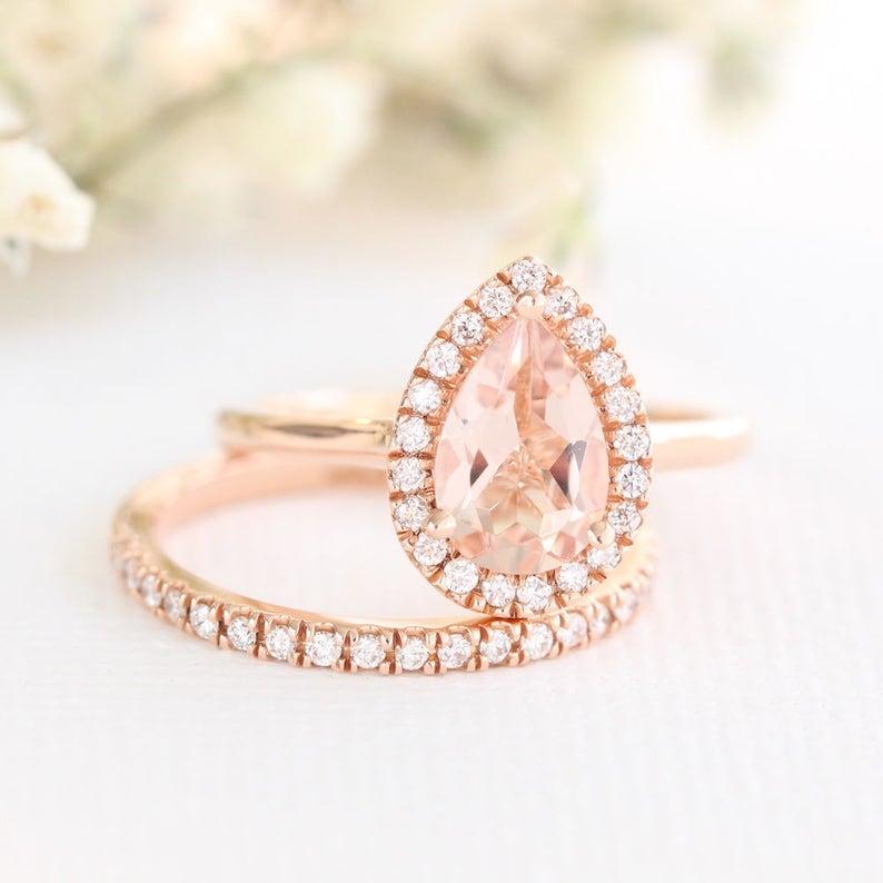 Morganite Wedding Set.Rose Gold Peach Morganite Wedding Set In 14k Gold Halo Engagement Ring And Half Eternity Diamond Wedding Band 9x6mm Pear Gemstone Ring Set