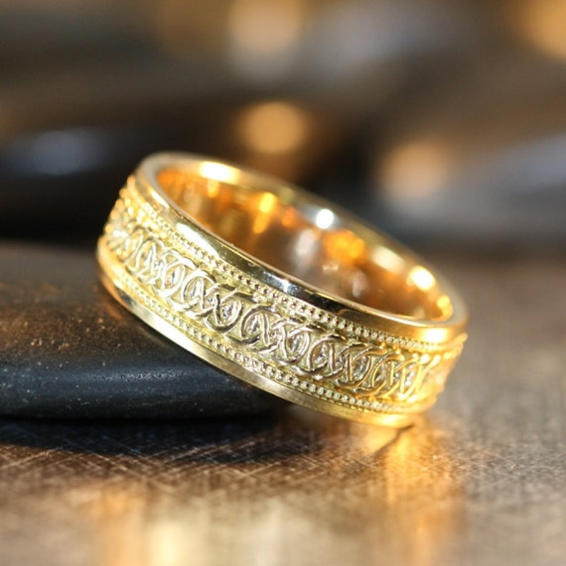 Infinity Celtic Knot Wedding Band 14k Yellow Gold Unique Mens image 0