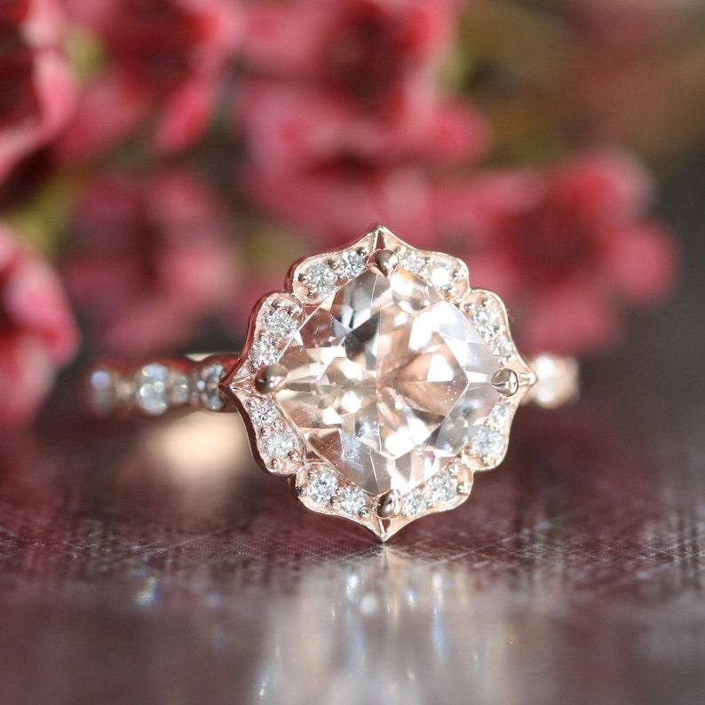 f050e159da5 14k Rose Gold Vintage Floral Morganite Engagement Ring Scalloped Diamond  Wedding Band 8x8mm Cushion Pink Peach Morganite Ring