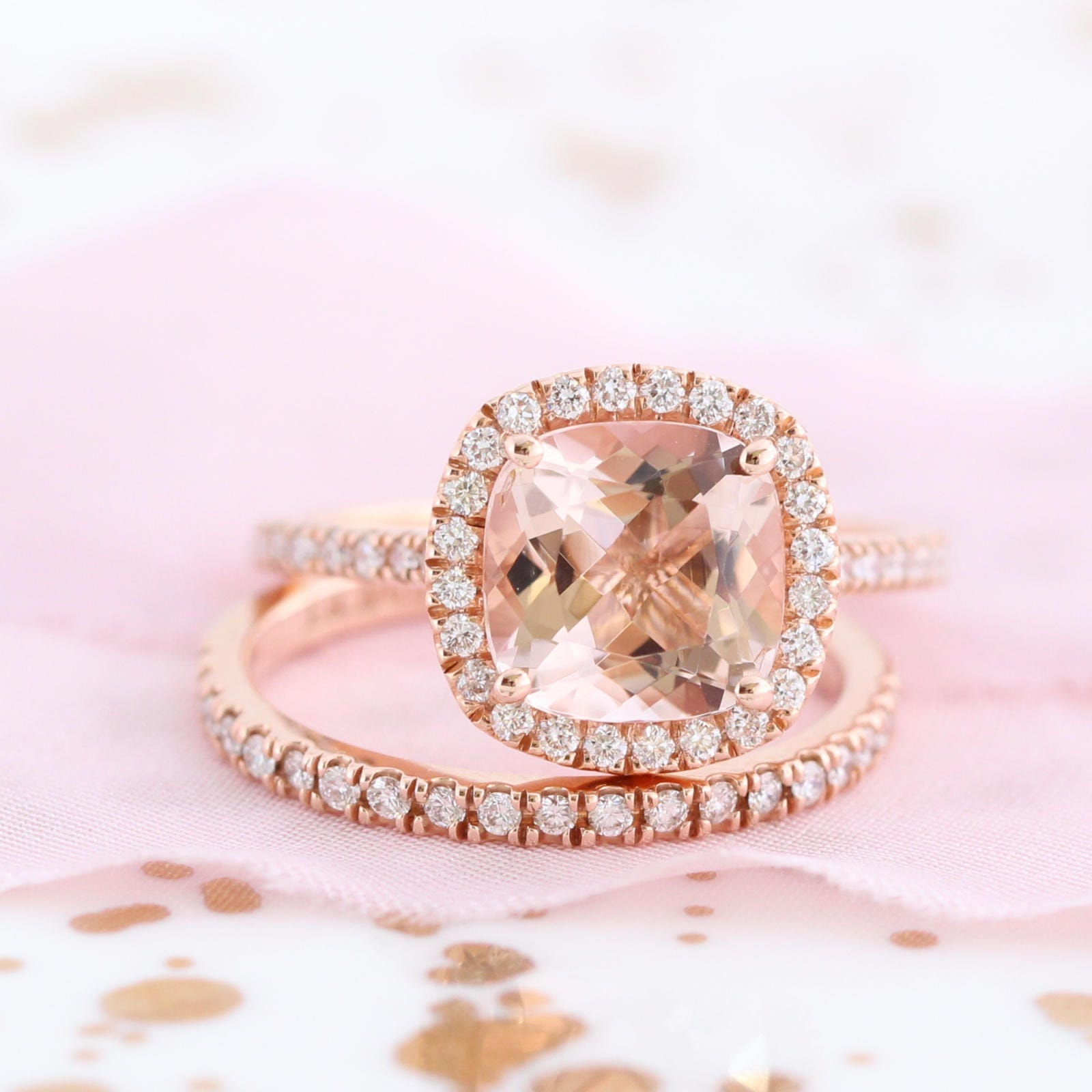 14k Rose Gold Wedding Set Morganite Engagement Ring and Half | Etsy
