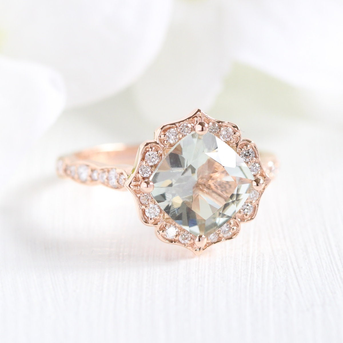 6646f7e39abc2 Rose Gold Green Amethyst Diamond Engagement Ring in Vintage Floral  Scalloped Diamond Wedding Band 14k Gold 8x8mm Cushion Green Gemstone Ring