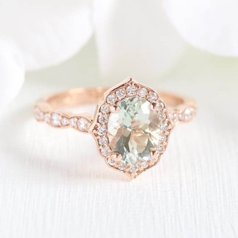 962dec62111eb Vintage Floral Green Amethyst Engagement Ring in 14k Rose Gold Scalloped  Diamond Wedding Band 8x6mm Oval Cut Green Color Gemstone Ring