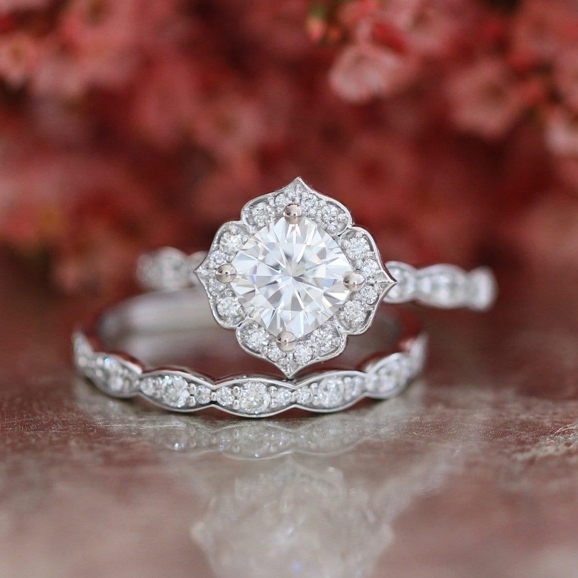 50: Cushion Cut Moissanite Wedding Ring Sets At Reisefeber.org