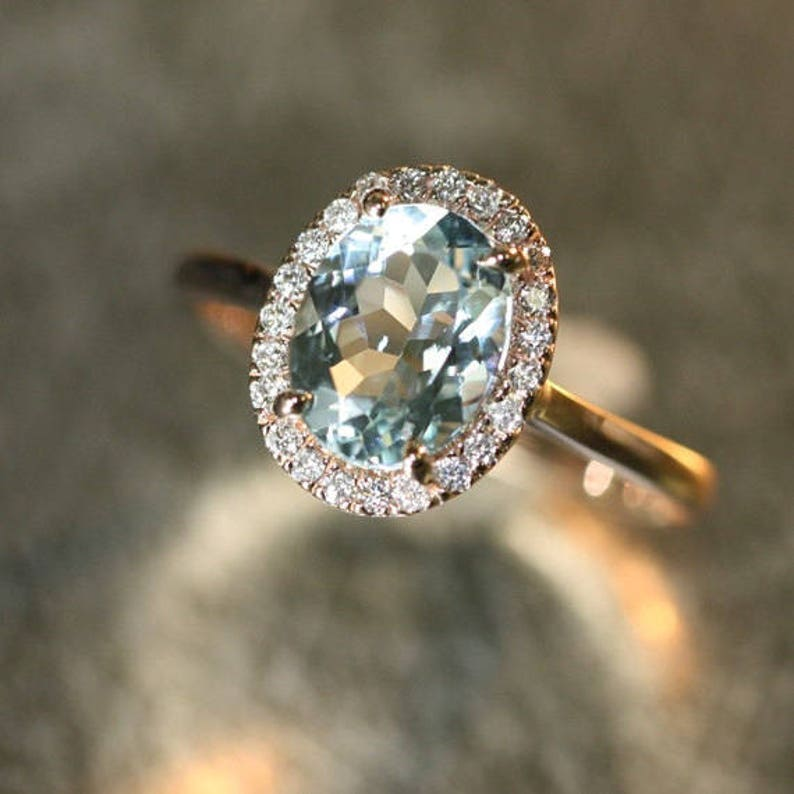 00d6057bc2fac Handmade Natural Aquamarine Engagement Ring 9x7mm Oval Aquamarine Wedding  Ring Halo Diamond Ring 14k Rose Gold (Other Metals Available)