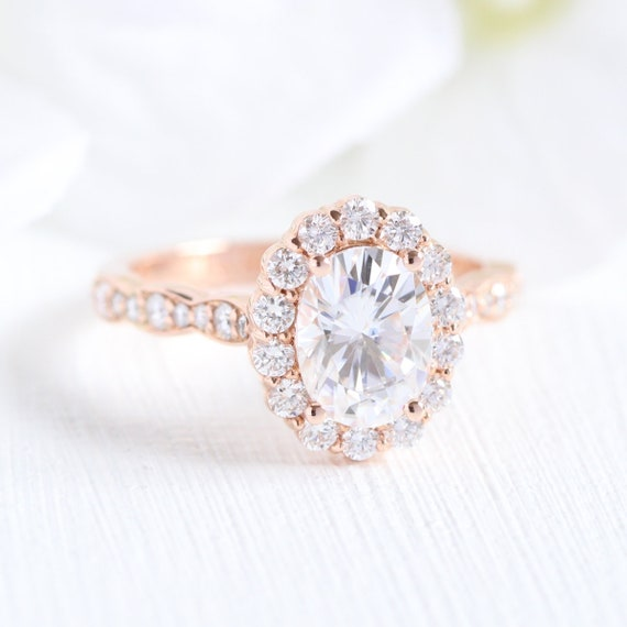 Rose Gold Oval Moissanite Engagement Ring In Halo Diamond Etsy