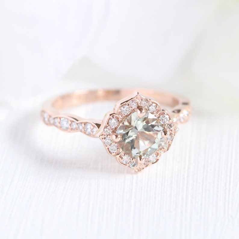 95dfd85fec682 Green Amethyst Engagement Ring in Rose Gold Mini Vintage Floral Ring  Scalloped Diamond Band 6x6mm Cushion Cut Ring 14k, 18k Gold or Platinum