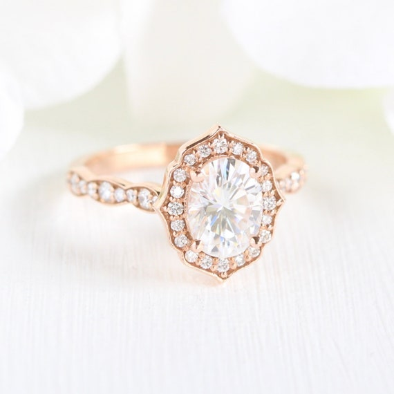 83c8f86f315c6 Oval Cut Forever One Moissanite Vintage Floral Engagement Ring 14k Rose  Gold Scalloped Diamond Wedding Band 8x6mm Gemstone Anniversary Ring