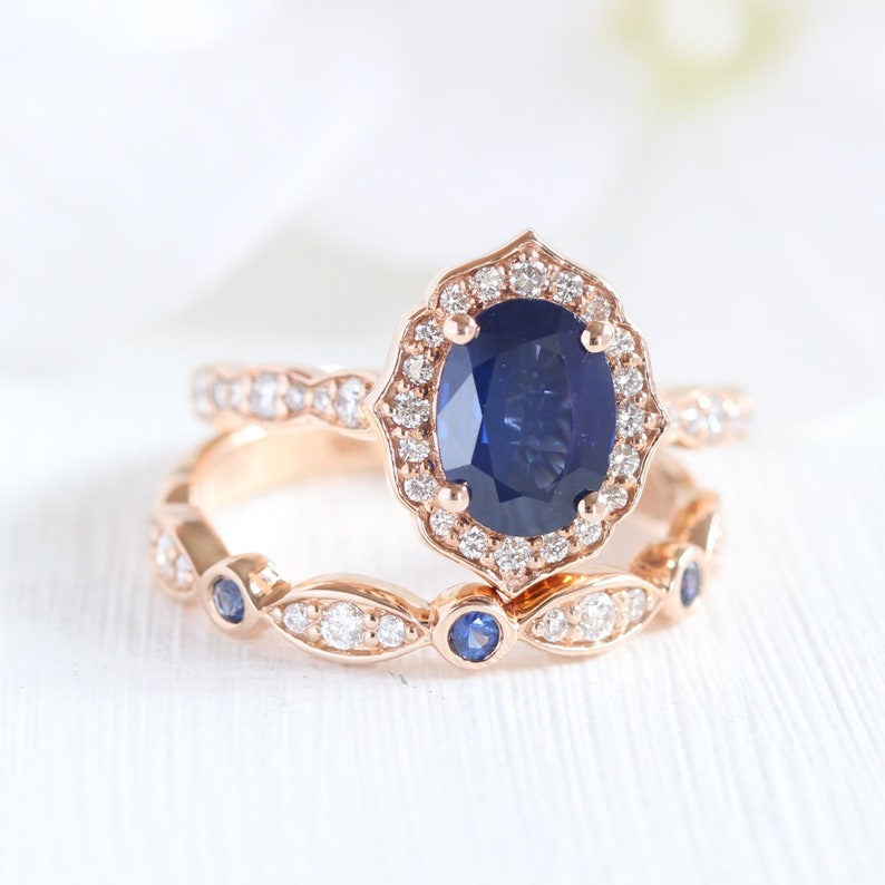 Sapphire Bridal Ring Set in 14k Rose Gold Vintage Floral Engagement Ring  and Diamond Sapphire Wedding Band 8x6mm Oval Cut Sapphire Ring