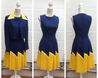 STUNNING 1960's Navy Blue & Yellow Two Piece Linen - MOD - Mary Quant Inspired - Size L