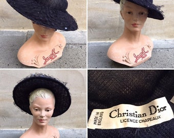 2ffd0cff Christian DIOR Chapeaux 1950's Navy Saucer Hat - Netting - Ladies Day Races  - Bridal