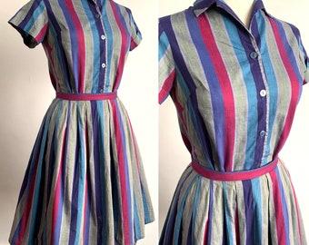 "1950's ""St Micheal"" Stripy Two Piece Blouse & Skirt - Cotton - Day Dress - VLV - Rockabilly - Size S"