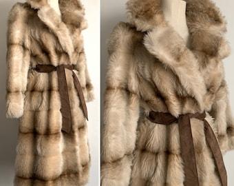 """DESIGNER """"Leslie Laurence in Tissavel France"""" Long Faux Mink Fur 1970's Coat - SIZE S/M"""