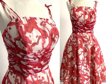 1950's Fuchsia Pink Abstract Print Cocktail Dress - VLV - Marvellous Mrs Maisel - Size XS Petite