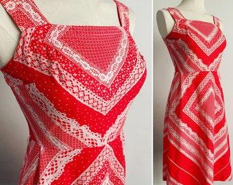 "Early 1970's Novelty Chevron Lace Print Cotton ""St Michael"" Summer Dress - Mod - Boho - Hippy - Size S - UK 10"