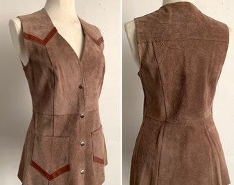 1970's Suede Longline Western Style Waistcoat - Festival Fashion - Boho - Hippy - Led Zeppelin - Size UK 12